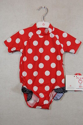Baby Girl Size 1,2 Plum Summer Red & White Spotted One Piece Swimwear NWT