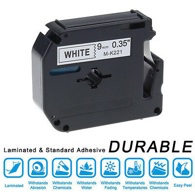 Compatible with Brother MK-221 P-Touch Black on White Label Tape 9mm x 8m M-K221