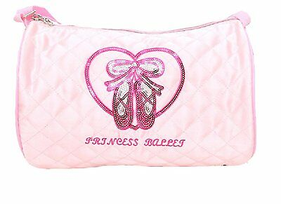 Quilted Glossy Dance Ballet Duffle Bag for little Girls - Light Pink