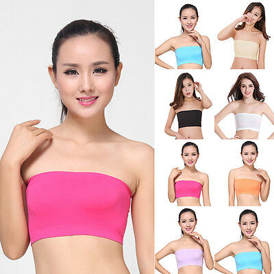 Soft Women Stretch Padded Seamless Strapless Bandeau Top Bustier Bra Gift