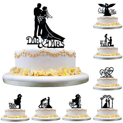 Acrylic Mr Mrs Bride and Groom Wedding Love Cake Topper Party Favors Decor black