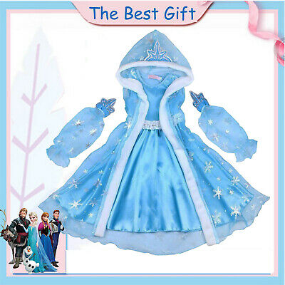 Girls Kid Anna Elsa Fancy Dress Hooded Cape Princess Cosplay Costume Xmas Gifts