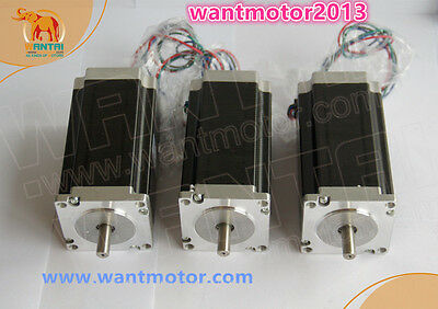 EU Free! Wantai Nema23 3PCS Stepper Motor 425oz-in 4.2A Dual Shaft CNC Cutting