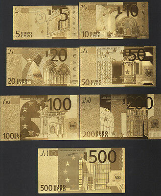 7PCS 24k Gold Foil Euros Banknote Arts Gifts Collections €500/200/100/50/20/10/5