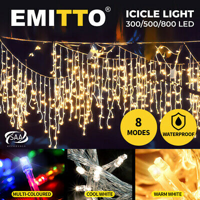 800 LED Xmas Icicle Curtain Lights Indoor/Outdoor Christmas Colour Wedding Party