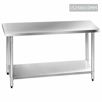 1524x610mm 430 Stainless Steel Commercial Kitchen Work Bench Food Prep Table Top