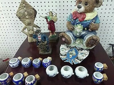 17 pc s set pair antiques collectibles jar statues cop ashtray lot bulk