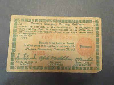 Philippines WWII emergency currency - Negros - 5 peso - 1944 - #71858