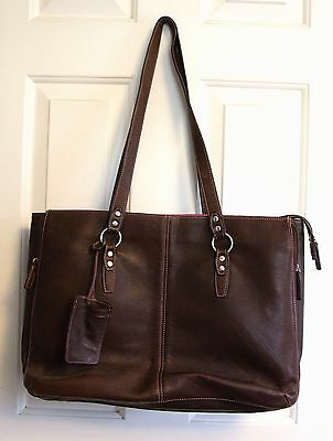 Brown Leather laptop bag with Pink interior expandable