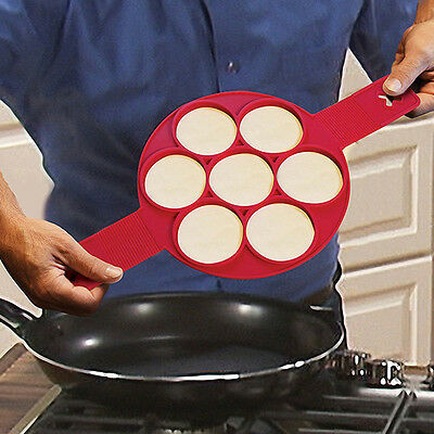 7 Cavity Nonstick Pancake Mold Non Stick Egg Omelets Silicone Ring Maker Tools
