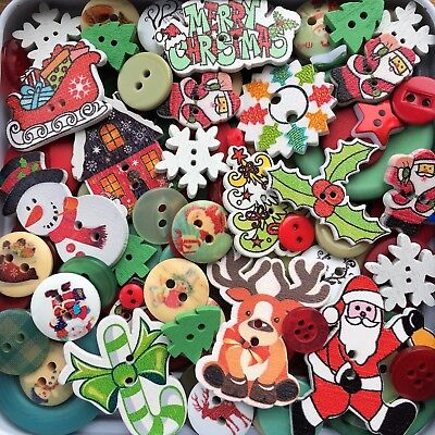 100 Mixed Christmas Craft Buttons Scrapbooking Sewing Card Making