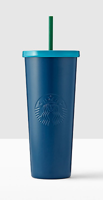 NEW 2017 STARBUCKS COLD CUP BLUE STAINLESS STEEL TUMBLER 24 fl oz