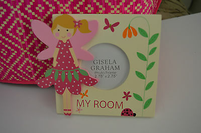 """Gisela Graham Wooden Pink Fairy """"My Room"""" Plaque Sign/ Photo Frame"""