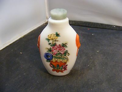 chinese porcelain snuff bottles signed jade top