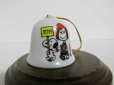 Snoopy Peanuts Charlie Brown Determined Porcelain Mini Bell Christmas Ornament