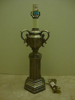 Vintage~Berman Hand Cast Metal ~ Brushed Silver & Gold ~ Urn Shaped Table Lamp