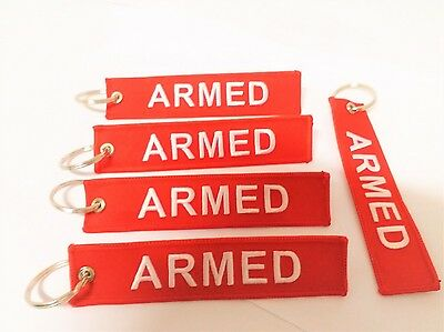 Armed Key Chain, Luggage Tag, Weapon Tag, Zipper Pull, Free Shipping Worldwide