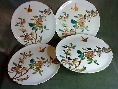 George Jones & Sons Crescent Ware compote and hand painted plates x 3
