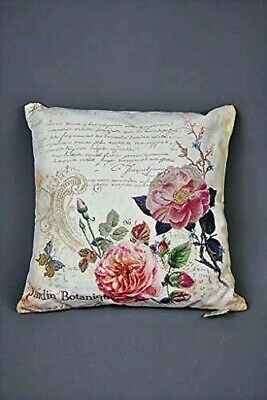"16"" Rose and Floral Jardin Botanique Cushion Pink Blue Green Butterflies Pretty"
