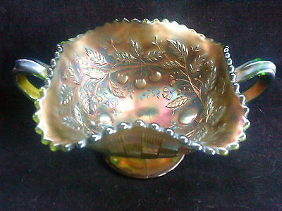 Northwood carnival glass footed three fruits  bowl basket weave  irridescence
