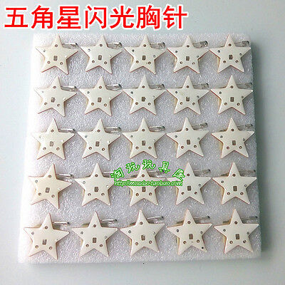 Lot White star Flashing LED Light Up Badge/Brooch Pins Christmas Gifts Q162