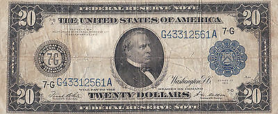 1914 $20 Federal Reserve Note - Large Currency - Chicago Illinois