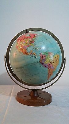 Vintage Blue Replogle Stereo Relief World 12 inch Globe with Metal Base