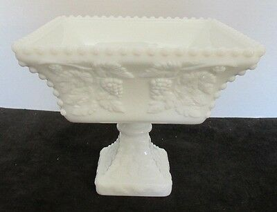 "Westmoreland Milk Glass Beaded Grape Open Compote Centerpiece 7""d X 6 1/4""t"