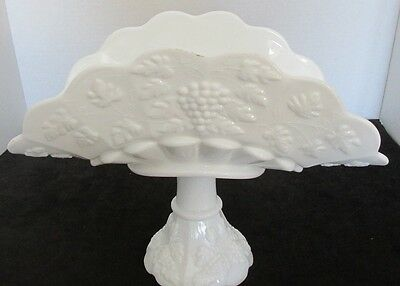 "Westmoreland Milk Glass Paneled Grape Open Banana Boat Stand Compote 12""dx9""t"