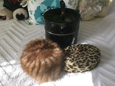 Vintage Small Hat/wig Box  Black Round With Loop Handle +2 Pill Box Fur Hats