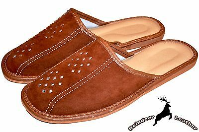 Mens Genuine Suede Leather Tan Handmade Slippers Scuffs Shoes Slip On All Size
