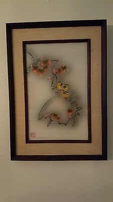 Vintage Japanese Signed Reverse Glass Painting Mejiros In Maple Tree