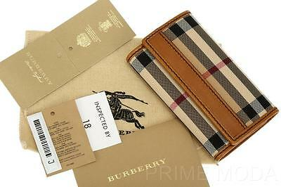 New Burberry Horseferry Check Tan Leather Logo Key Ring Chain Holder Case