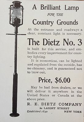 Antique 1903 Ad(F16)~Dietz No.3 Lamp For Your Country Grounds, Ny.
