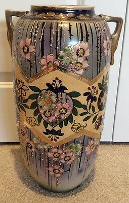 "Beautiful Japanese Satsuma Moriage Large 17"" Hand Painted Vase"