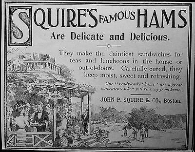 Antique 1898 Ad (1800-14)~Squire's Famous Hams. Dainty Sandwiches For Tea