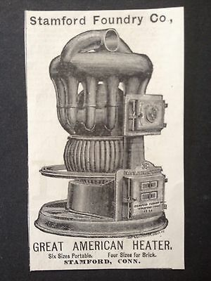 Antique 1885 Ad (1800-6)~Stamford Foundry Co. Stamford, Conn. Heater