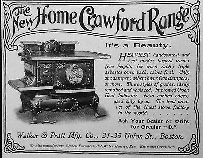Antique 1898 Ad (1800-14)~The New Home Crawford Range. Union St. Boston