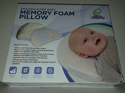 Luxury Infant Baby Head Shaping Memory Foam Pillow + Organic Bamboo Pillowcase