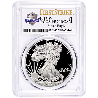 2017-W Proof $1 American Silver Eagle PCGS PR70DCAM First Strike 225th Label