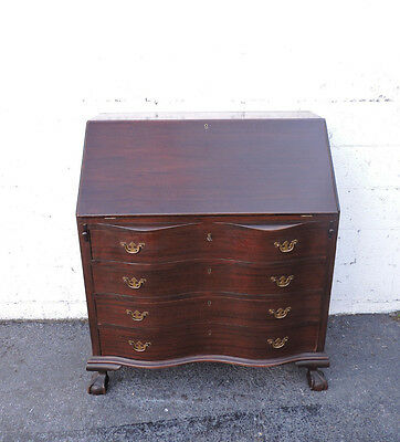 Ball and Claw Feet Large Serpentine Front  Mahogany Secretary Desk 8285