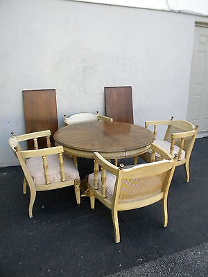 Mid-Century Painted Dining Table with 4 Caned Chairs & 2 Leaves 3209