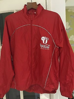 Coca Cola Olympic Games Raincoat 2012 London Recycled Jacket Size Medium Red