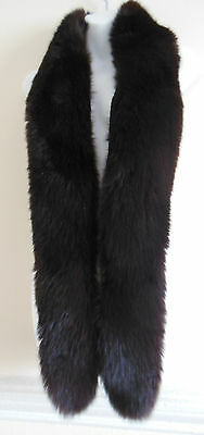 """Very long vintage brown real fox fur collar / stole / scarf lined l 66"""" w 6"""""""