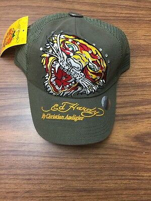 984e0a610c8 Olive Green Ed Hardy By Christian Audigier Cap Tiger With Bling NWT N1-7