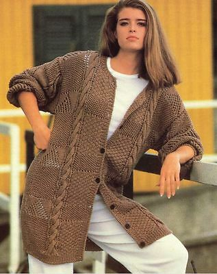 Knitting Pattern Lady's Fab Long Line DK Cable Cardigan  97-112 cm    (92)