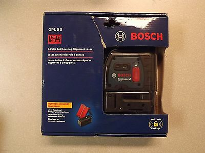 New! Bosch GPL 5 S   5 Point Self Leveling Alignment Laser