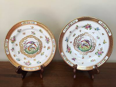 Cowell & Hubbard Spode Sutherland Hand Painted Birds of Paradise Plates ~ Pair