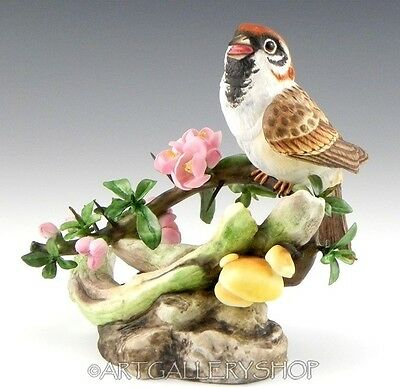 Boehm England Handpainted Figurine BIRD ON BRANCH WITH PINK FLOWERS Mint