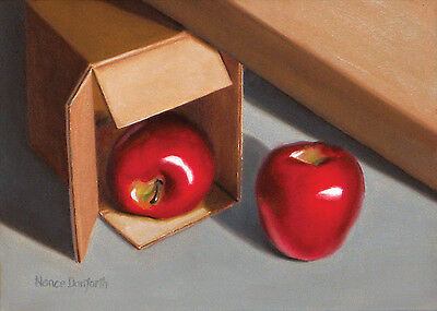 DANFORTH SALE Apples And Boxes 5x7 original still life oil painting realism